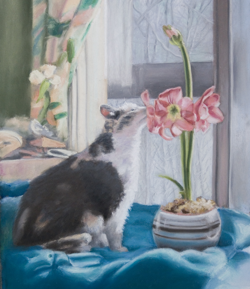 pastel portrait of cat with flowers