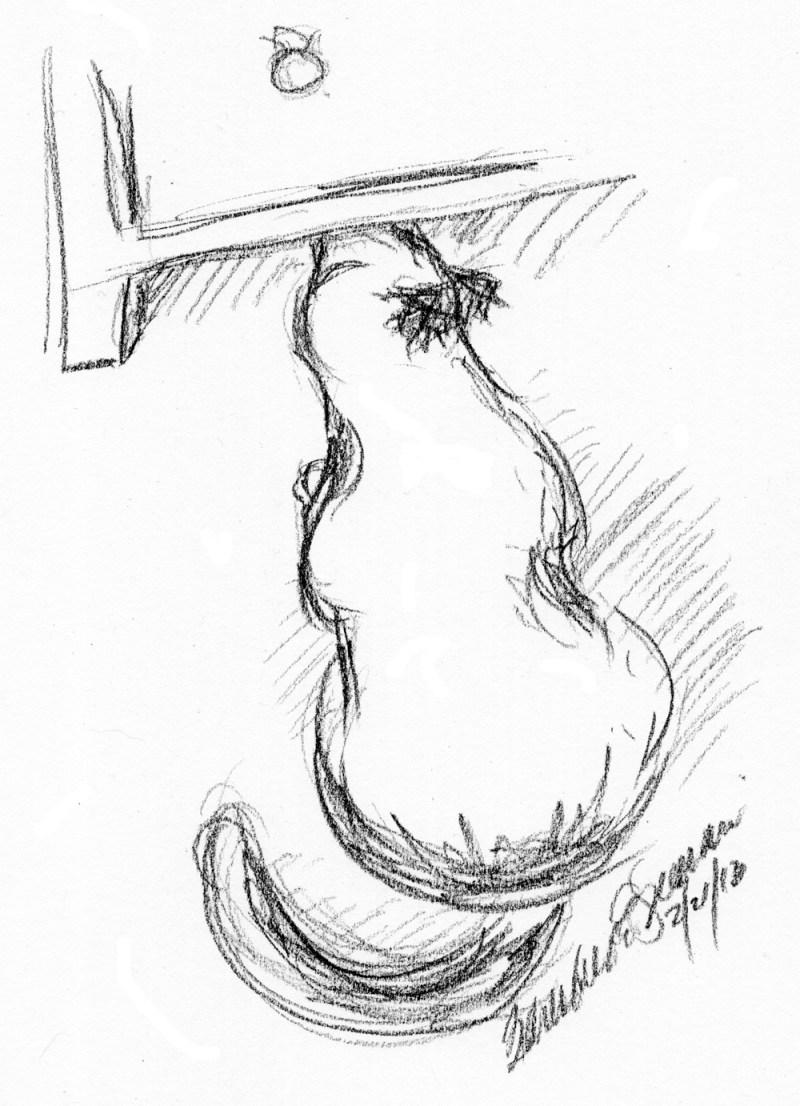 """It's Under Here"", charcoal pencil, 6"" x 8"" © B.E. Kazmarski"