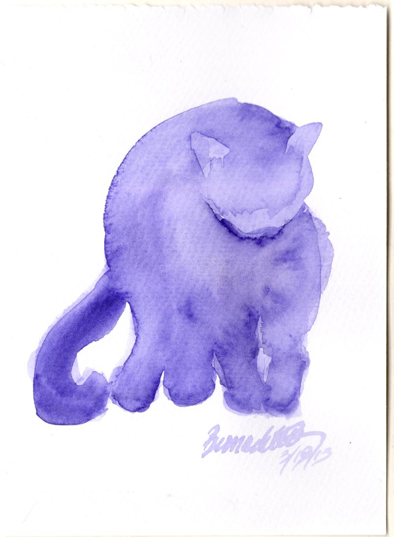 watercolor of cat bathing