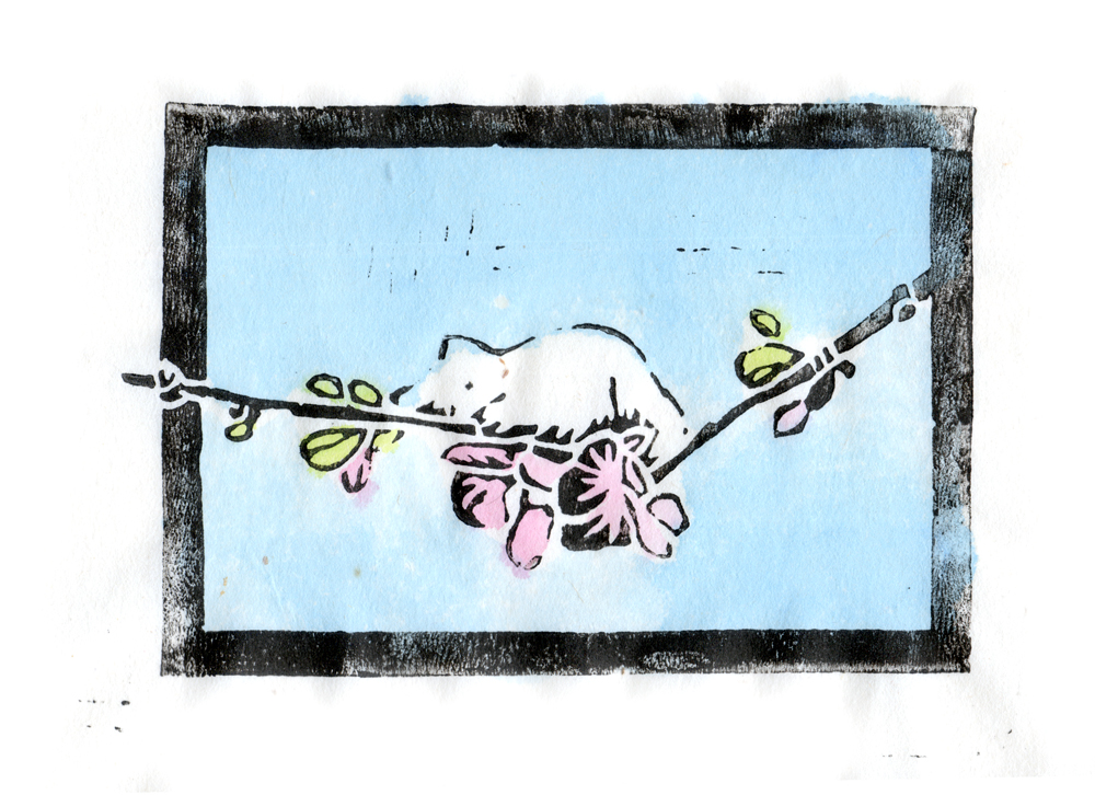 """""""The Spring Kitten"""" linoleum  block print on rice paper, black ink and hand-colored with watercolors"""