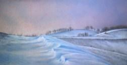 pastel painting of winter landscape