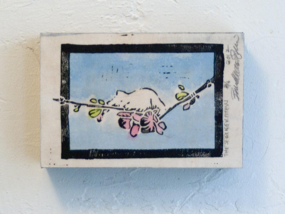 """Wood-mounted """"Spring Kitten"""" print, 4"""" x 6"""","""