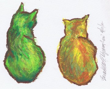 oil pastel drawing of two cats