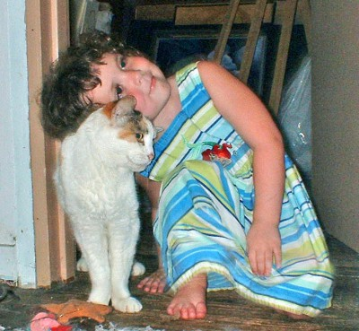 little girl with cat