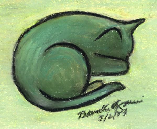 pastel sketch of cat