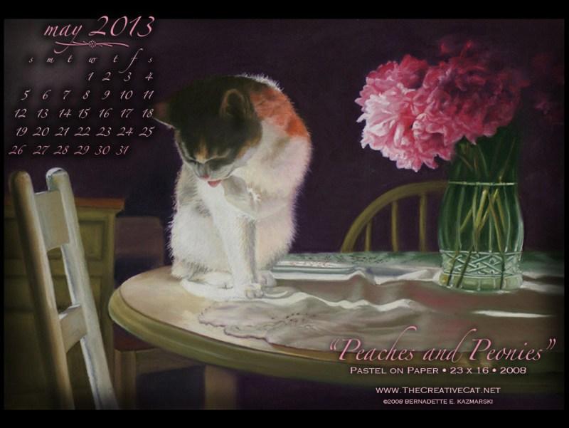 pastel painting of cat and peonies desktop calendar