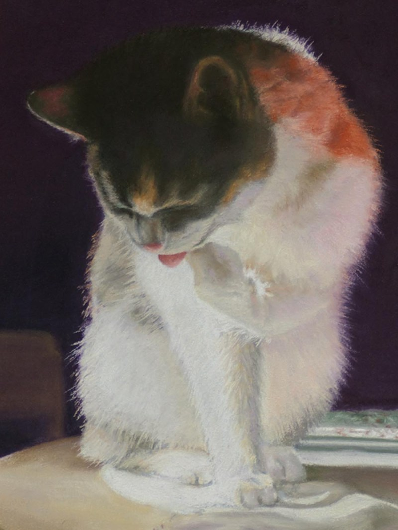 detail of cat in painting
