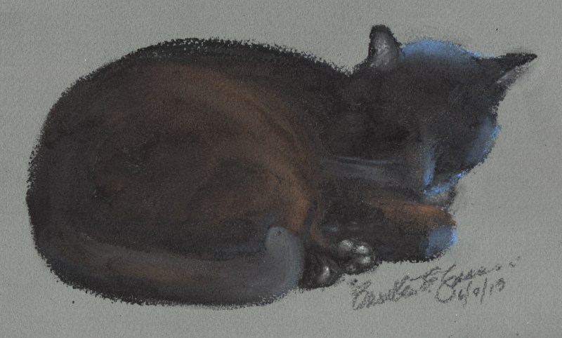 pastel sketch of black cat