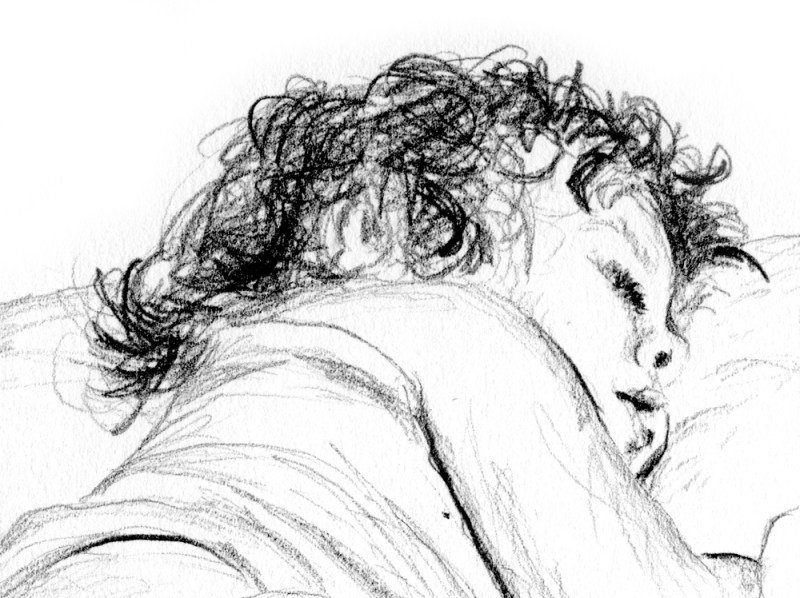 pencil sketch of toddler