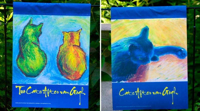 cats after van gogh garden flag