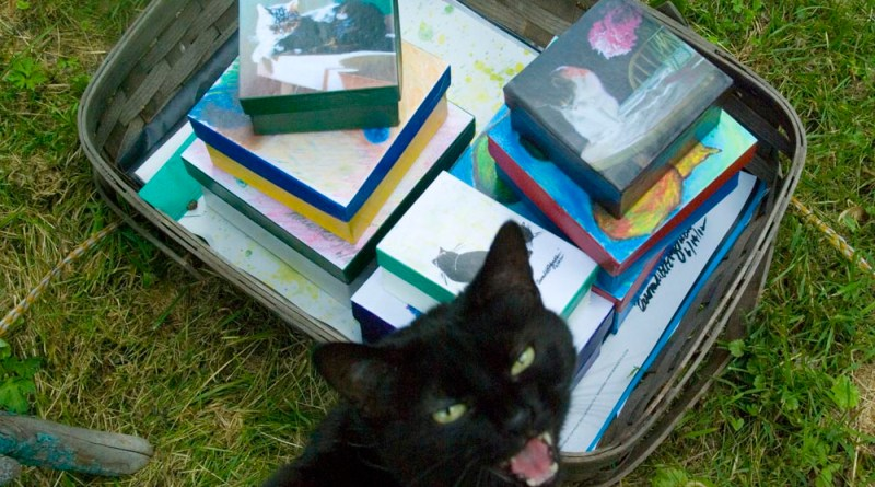 black cat with basket of merchandise
