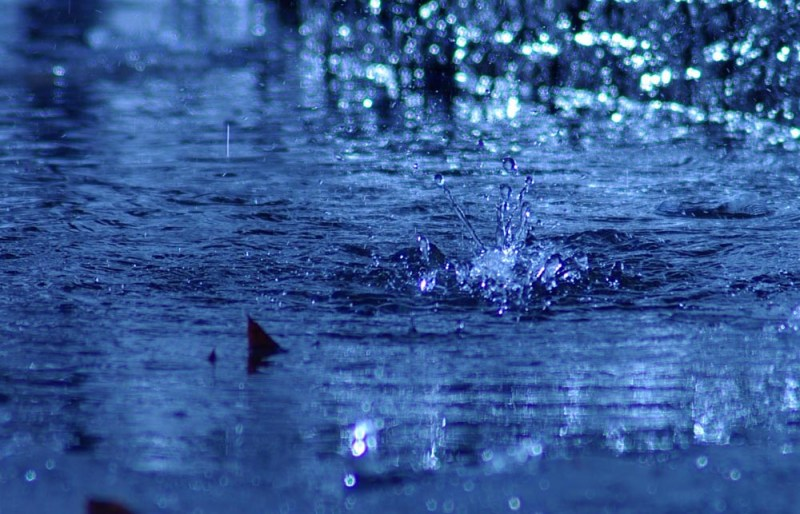 drop of water falls into stream