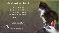 pastel sketch of cat with desktop calendar and chalk
