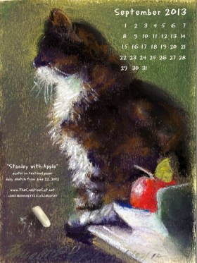 pastel sketch of cat with chalk desktop calendar