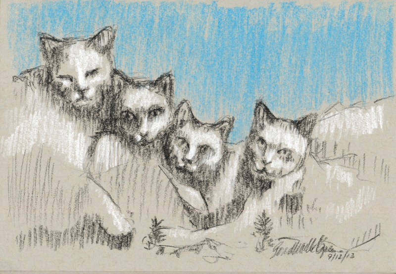 charcoal sketch of four cats looking like Mt. Rushmore
