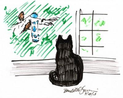 marker sketch of black cat watching birds at feeder