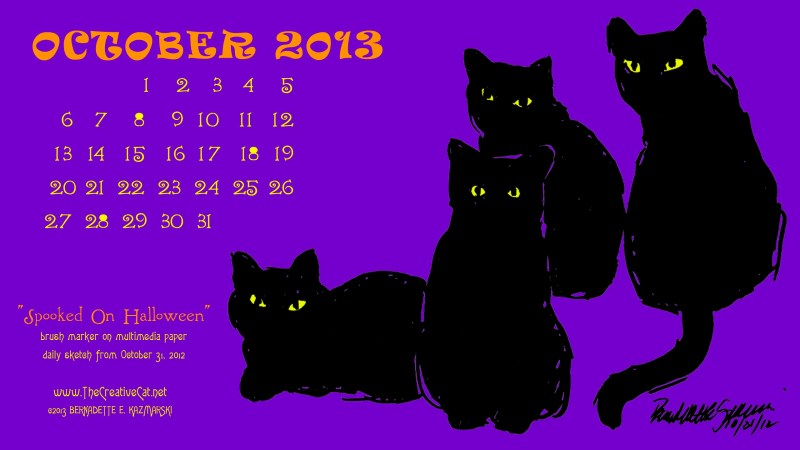 """""""Spooked on Halloween"""" desktop calendar for wide and HD monitors."""