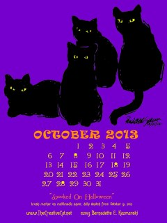 """""""Spooked on Halloween"""" desktop calendar for kindle, iPad and mobile devices."""