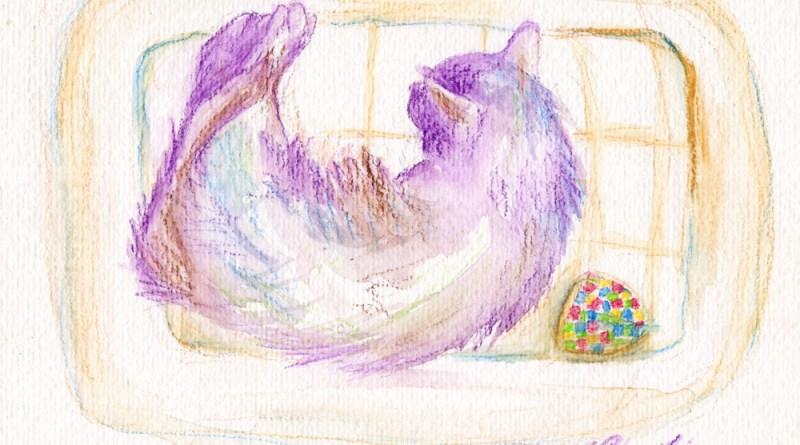 watercolor of cat in cat bed
