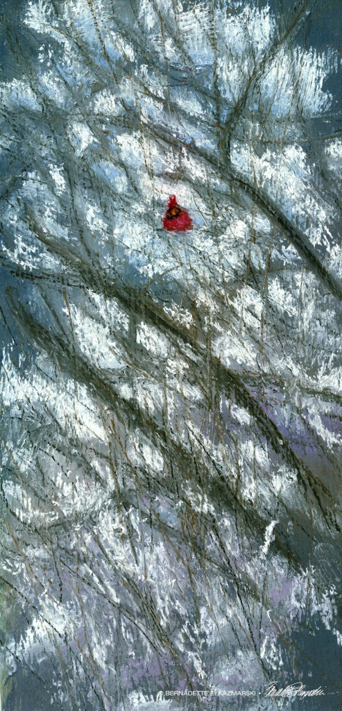 pastel painting of cardinal in snow