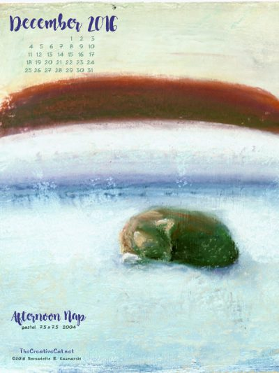"""Afternoon Nap"" desktop calendar, 600 x 800 for iPad, Kindle and other readers."
