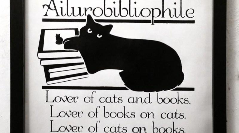 Ailurobibliophile print, framed.