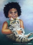 Pastel portrait of young girl and cat
