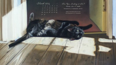 """""""Are You Looking At Me"""" Desktop Calendar for March 2014."""