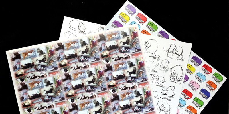 art papers with cat prints