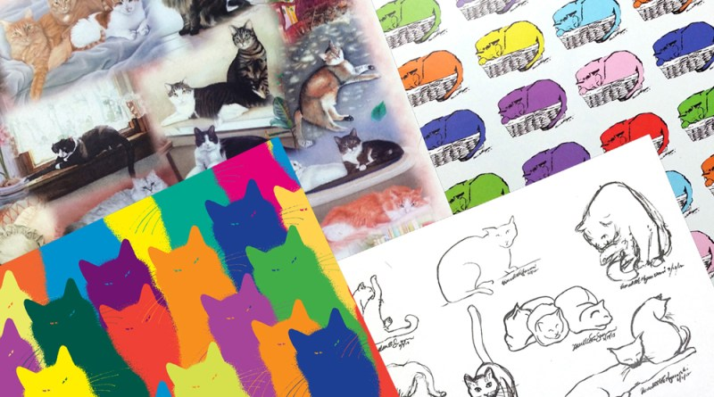 Feline-themed art papers.