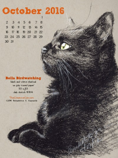 """Bella Birdwatching"" desktop calendar, 600 x 800 for iPad, Kindle and other readers."