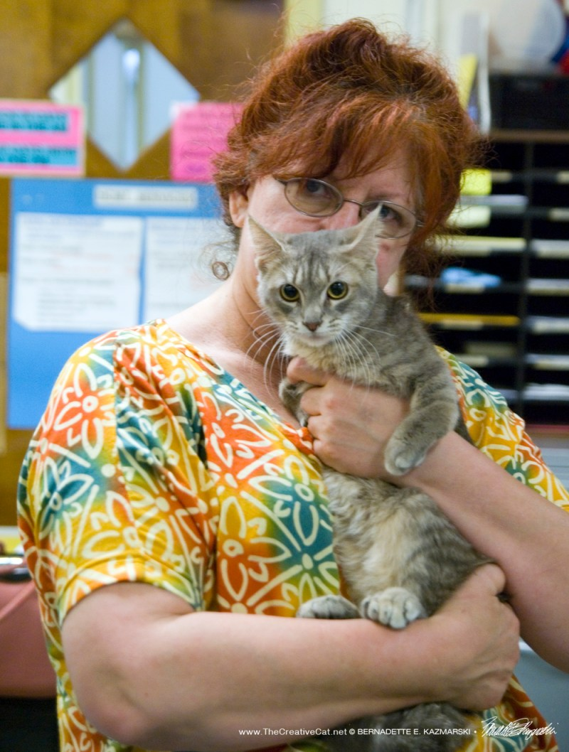I am holding the kitty who had bent front legs, or radial hypoplasia.