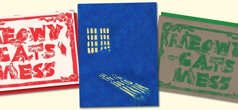 Hand-printed linocut holiday cards.