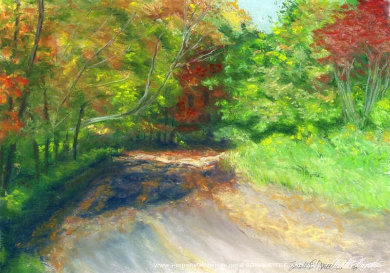 """""""Bright Autumn"""", pastel, 14"""" x 20"""" © Bernadette E. Kazmarski"""