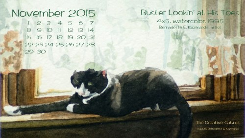 """""""Buster Lookin' at His Toes"""" desktop calendar 2560 x 1440 for HD and wide screens."""