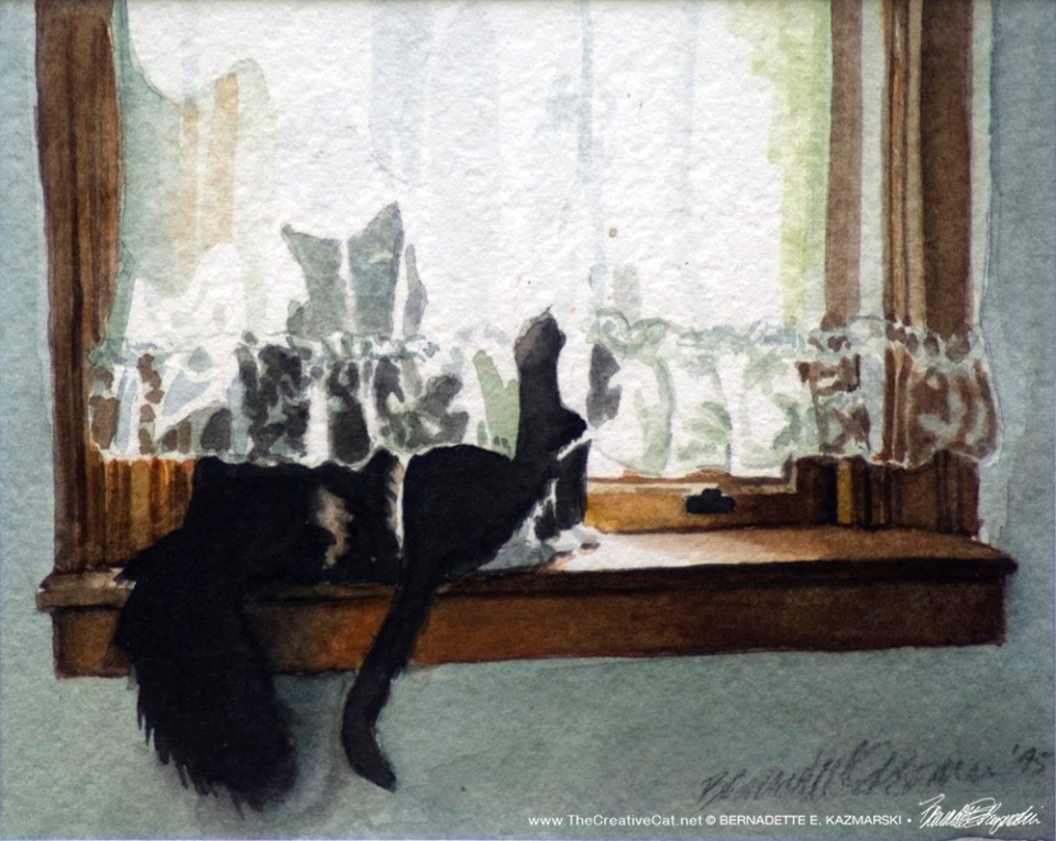 """Kitty and Buster"", watercolor, 4"" x 5"", 1995 © Bernadette E. Kazmarski"