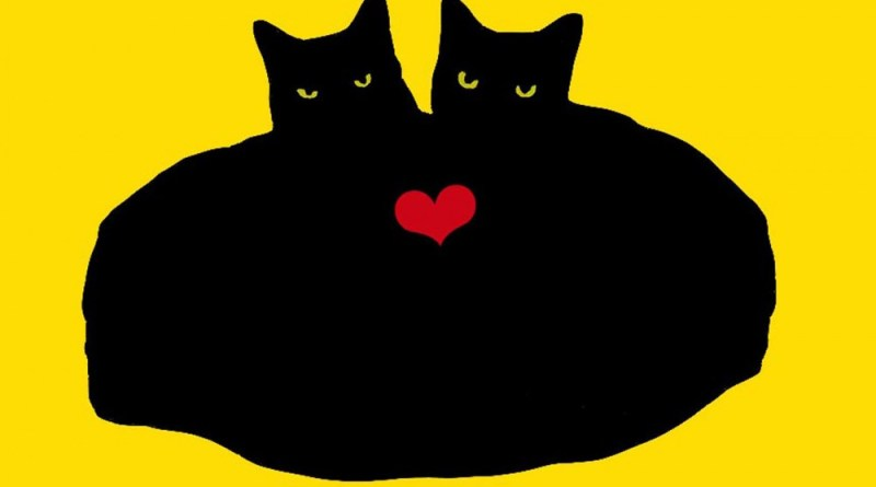 valentine illustration with two black cats hugging with heart