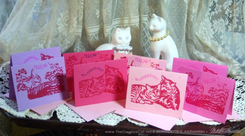 Linoleum block-printed Valentine cards inspired by Valentine Candy hearts!