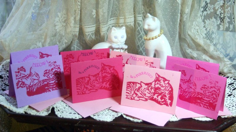 linocut cat vaentines in pink and purple