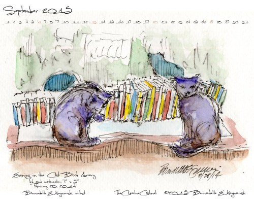 """Evening in the Cat Book Library"" desktop calendar, 1280 x 1024 for square and laptop monitors."