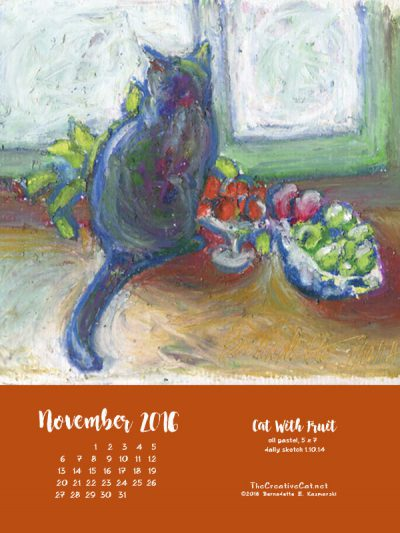 """Cat With Fruit"" desktop calendar, 600 x 800 for iPad, Kindle and other readers."