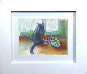 oil pastel of cat with fruit