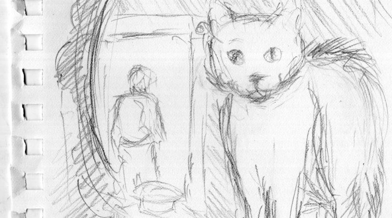 pencil sketch of cat in front of mirror