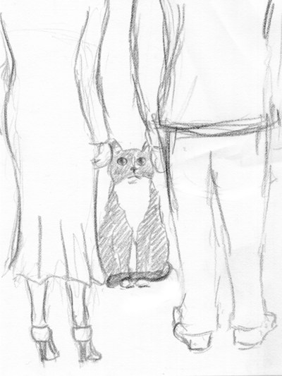 pencil sketch of cat and people