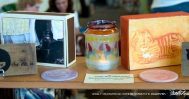 Keepsakes, votives and coasters on display.