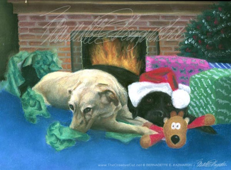 """We Don't Know Who Unwrapped It"", pastel on paper, 8"" x 10"", 1998 © Bernadette E. Kazmarski"
