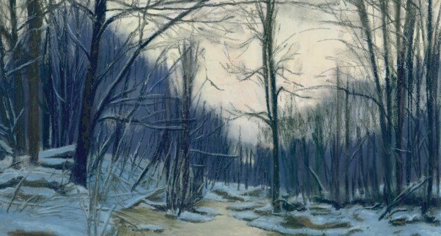 pastel painting of woods in snow