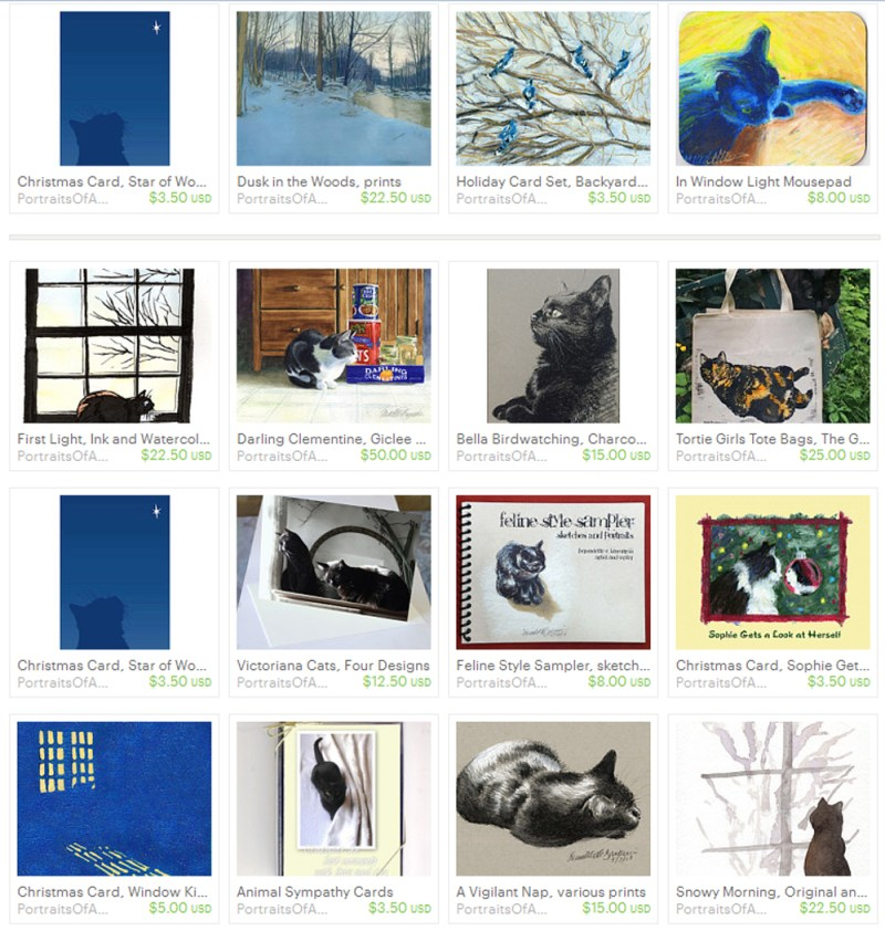 My Etsy shop front page.