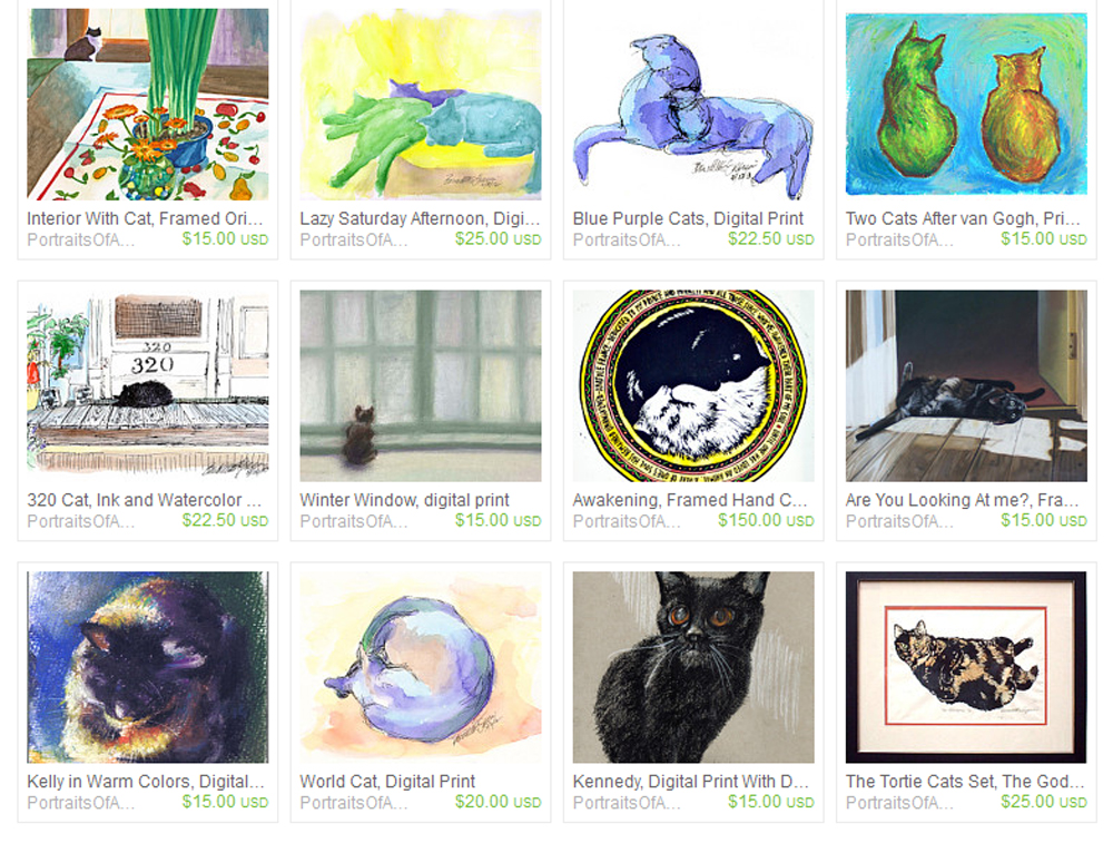 portraits of animals on etsy