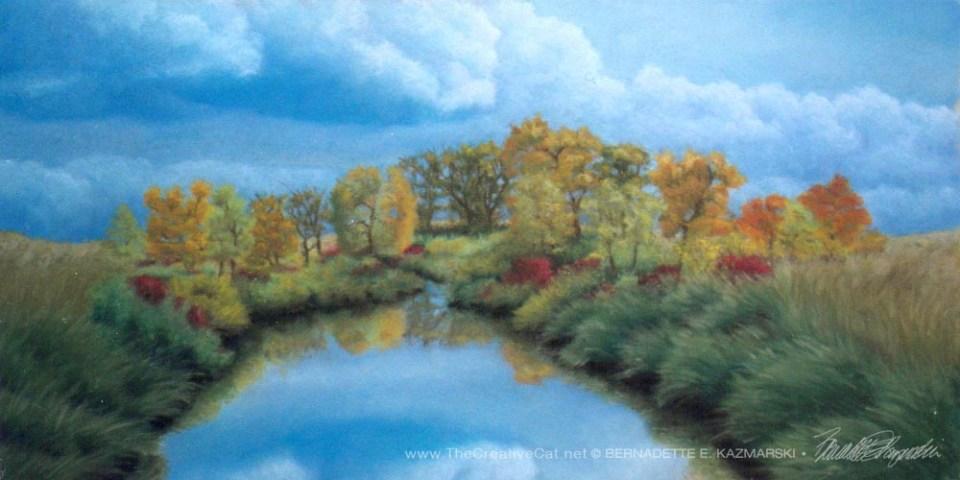 """""""Autumn"""", pastel, 12"""" x 24"""", 1997 © B.E. Kazmarski"""